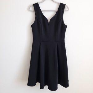 Cocktail party black v-neck dress, L, worn once